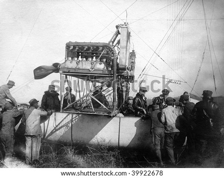 ROME - MAY 7 : Vintage photograph shows the cabin of Italian airship 'P.V.3' and gets ready for flight at Ciampino Airport on May 7, 1918 in Rome, Italy.