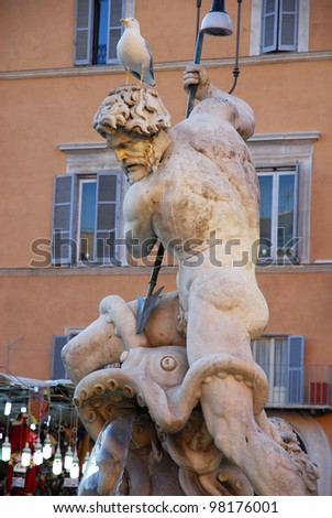 Rome, Navona square, Fountain of Neptune detail