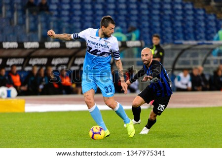 ROME - OCT 29, 2018: Francesco Acerbi 33 in action. SS Lazio - FC Internazionale Milano. Serie A TIM. Stadio Olimpico.