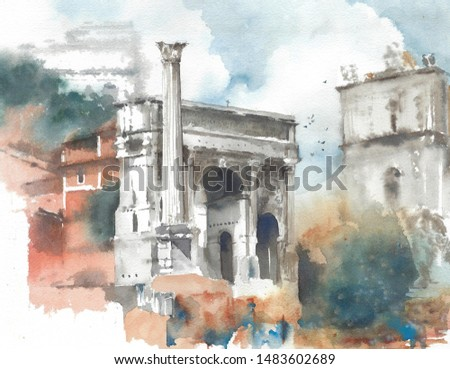 Rome ruins architecture landmark Italy travel destination watercolor painting