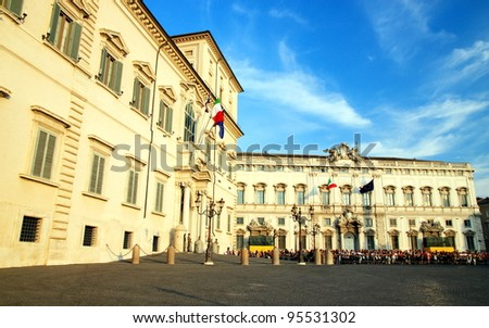 ROME - SEPTEMBER 18, 2011: The Quirinal palace and square on September 18, 2011 in Rome, Italy. The Quirinale palace is the Italian Presidential Palace.