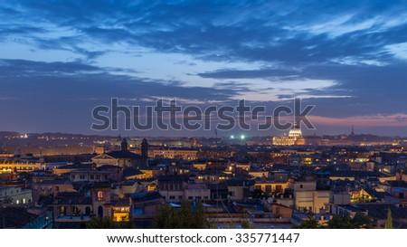 Rome Skyline at Dusk, Italy