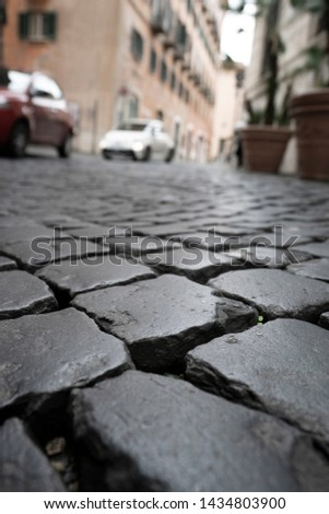 Rome streets and cobbles in Italy