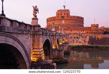 Rome, the Bridge of Angels which leads to Saint Angelo castle.