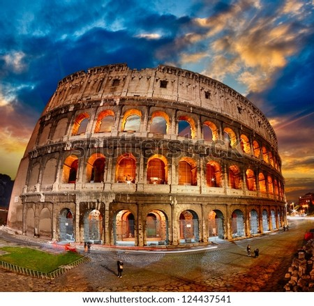 Rome. The Colosseum at sunset