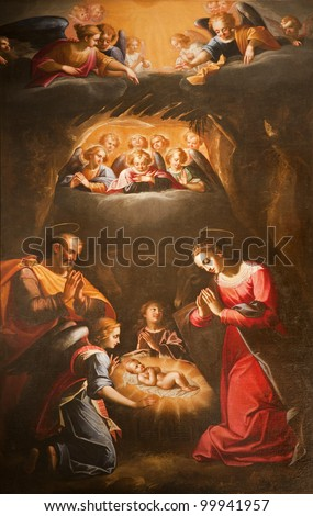 Rome - The Nativity - paint from San Luigi church