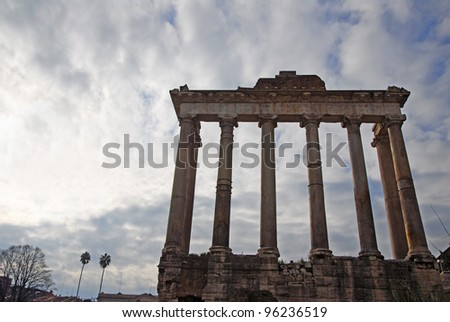 Rome, the Temple of Saturn in the Roman Forum
