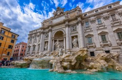 Rome Trevi Fountain (Fontana di Trevi) in Rome, Italy. Trevi is most famous fountain of Rome. Architecture and landmark of Rome. Postcard of Rome.
