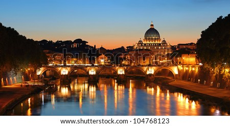 Rome, Vatican after sunset