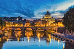 Rome Vatican Italy, sunset city skyline at St. Peter's Basilica and Tiber River