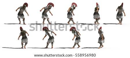 rome warrior 3d rendering pose greek
