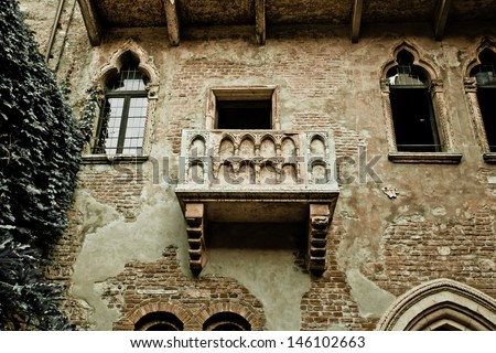 Romeo and Juliet balcony in Verona, Italy -colorized photo for old mood