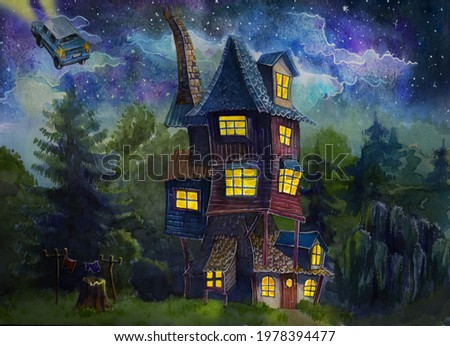 Ron's cozy house on the edge of the forest on a starry summer night, a flying car. Landscape of a house outside the city. Watercolor drawing.  Foto stock ©