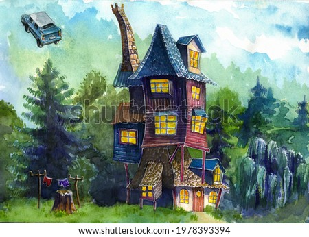 Ron's cozy house on the edge of the forest on a sunny day. Flying car. Landscape of a house outside the city. Watercolor drawing.  Foto stock ©