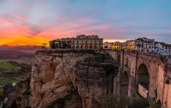 Ronda's spectacular sunset with the with the