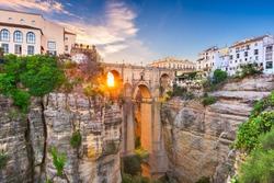 Ronda, Spain at Puente Nuevo Bridge at sunset.