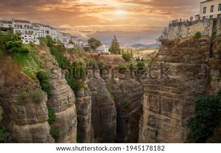 Ronda, Spain, Scenic view of a Puente Nuevo Arch and Puente Nuevo Bridge Foto stock ©
