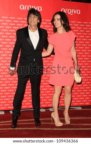 Ronnie Wood and girlfriend Sally Humphreys arriving at the Arqiva Commercial Radio Awards 2012 London, England. 04/07/2012 Picture by: Henry Harris / Featureflash