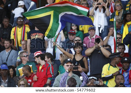 ROODEPOORT, SOUTH AFRICA - JUNE 5:  Spectators in stands at an an international soccer friendly between the USA and Australia ahead of the 2010 World Cup June 5, 2010 in Roodepoort, South Africa.