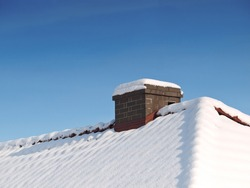 Roof and chimney in snow. This file is cleaned, retouched and ready to use.