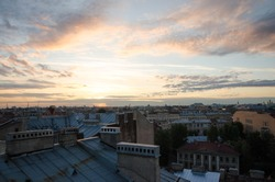 roof, city, panorama, sunset, home