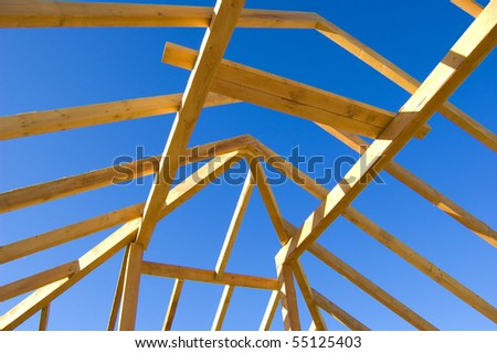 Roof construction. Picture of exposed roof construction.