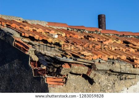 roof damaged damaged tiles