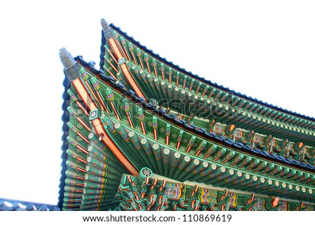 Roof detail at Gyeongbok palace ,Seoul, South Korea.