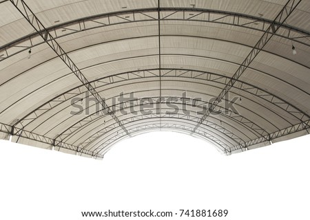 Roof Dome construction, canvas and metal sheet  for event, Empty indoor activities and parking exhibition, isolated #741881689