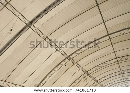 Roof Dome construction, canvas and metal sheet  for event, Empty indoor activities and parking exhibition, copy space for text #741881713