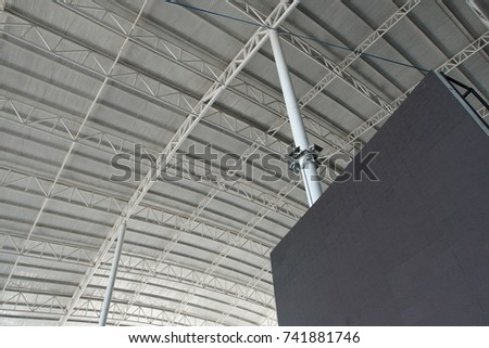 Roof Dome construction, canvas and metal sheet  for event, Empty indoor activities and parking exhibition, LED tv screen for copy space advertising #741881746