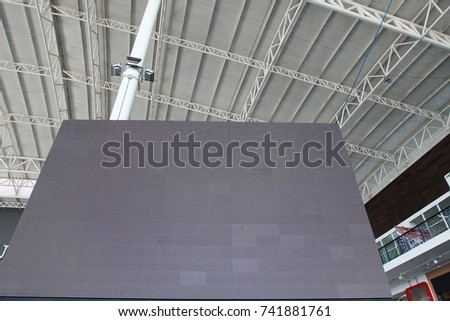 Roof Dome construction, canvas and metal sheet  for event, Empty indoor activities and parking exhibition, LED tv screen for copy space advertising #741881761