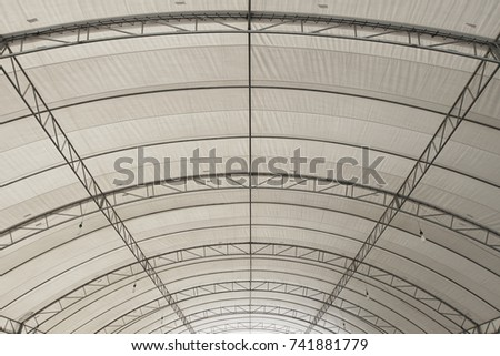 Roof Dome construction, canvas and metal sheet  for event, Empty indoor activities and parking exhibition, copy space for text #741881779