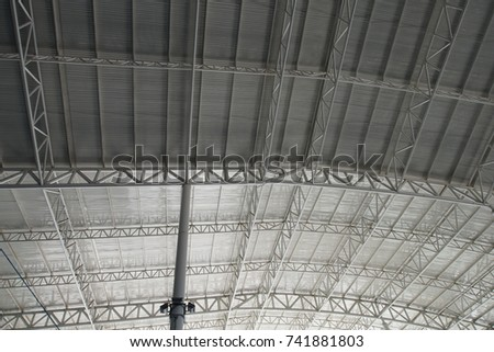 Roof Dome construction, canvas and metal sheet  for event, Empty indoor activities and parking exhibition, copy space #741881803