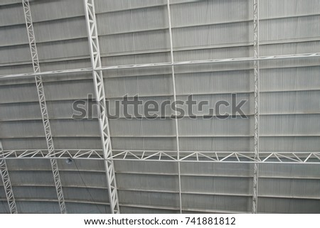 Roof Dome construction, canvas and metal sheet  for event, Empty indoor activities and parking exhibition, #741881812