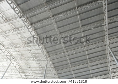Roof Dome construction, canvas and metal sheet  for event, Empty indoor activities and parking exhibition, copy space #741881818