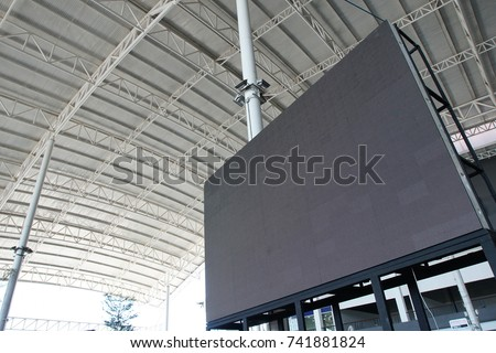 Roof Dome construction, canvas and metal sheet  for event, Empty indoor activities and parking exhibition, LED tv screen for copy space advertising #741881824