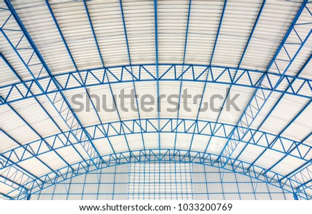 Roof dome structure building concept. It is covering on uppermost part of a building or shelter. It protection from weather rain or snow heat wind and sunlight. Dome have been constructed from metal. #1033200769