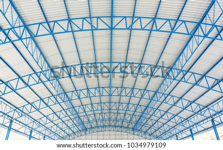 Roof dome structure building concept. It is covering on uppermost part of a building or shelter. It protection from weather rain or snow heat wind and sunlight. Dome have been constructed from metal. #1034979109