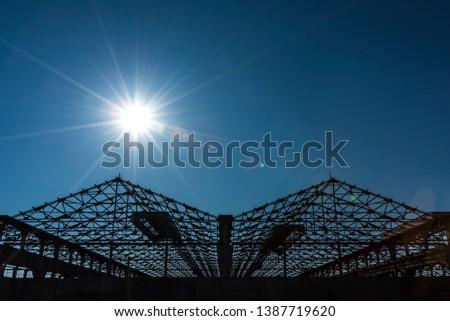 Roof Framework of abandoned factory