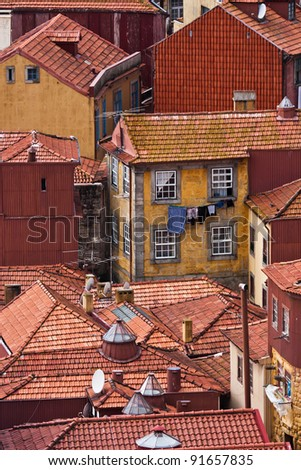 roof landscape in the abandoned historic city of Porto