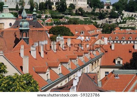 Roof line in Prague, Czech Republic.