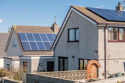 Roof Mounted Solar Panels in Holyhead, Wales - United Kingdom.