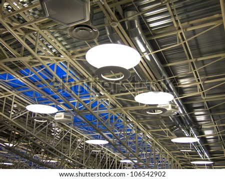 Roof of a modern industrial factory with ventilation system