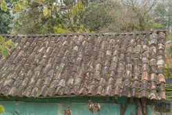 roof of a small house made of clay tiles surrounded by greenery