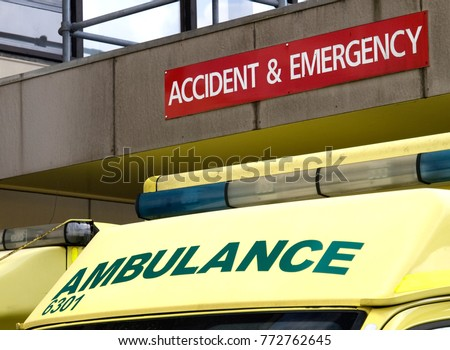 Roof of ambulance parked outside an Accident and Emergency department of a hospital.