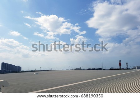 roof of metal sheet building with clear blue sky background #688190350
