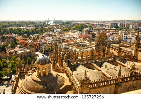 Roof of Seville cathedral from La Giralda of Seville cathedral in Sevilla , Spain