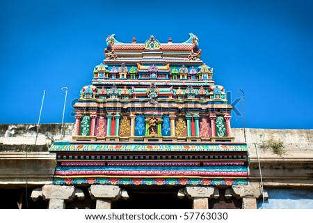 Roof of Sri Meenakshi hindu temple in Madurai, Tamil Nadu, India