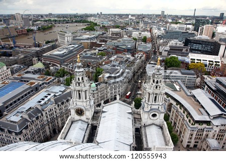 Roof of St Pauls and classic view of London from St Paul's Cathedral, UK